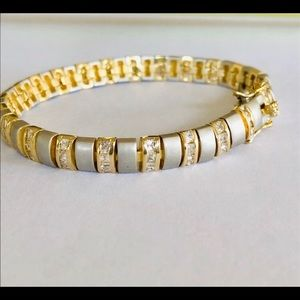 Two Tone Sterling, Gold Tone & Crystal Bracelet